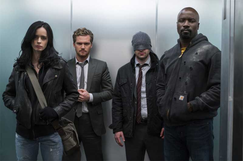 Krysten Ritter, Finn Jones, Charlie Cox and Mike Coulter in The Defenders