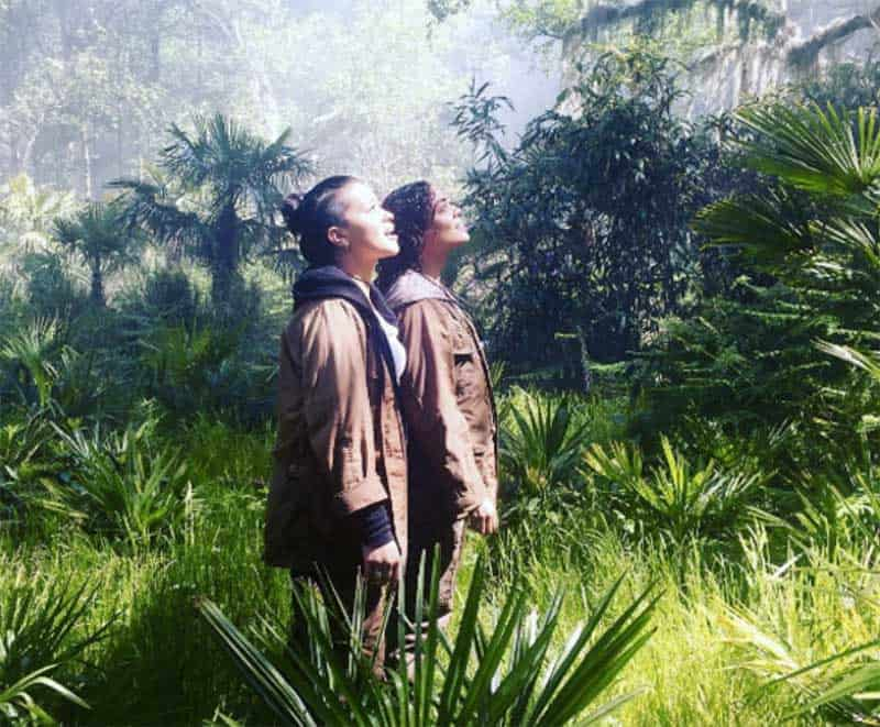 Gina Rodriguez and Tessa Thompson in Annihilation