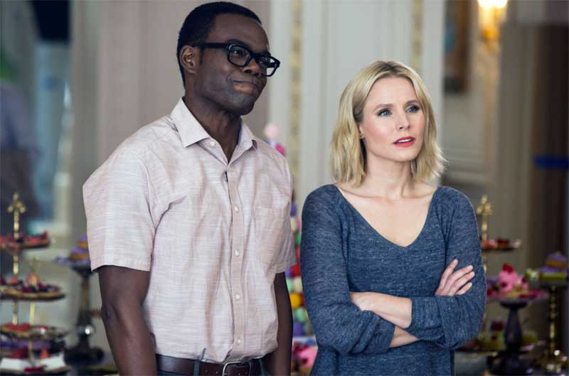 William Jackson Harper and Kristen Bell in The Good Place