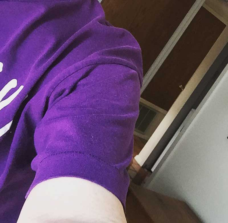 a bit of a purple tee shirt