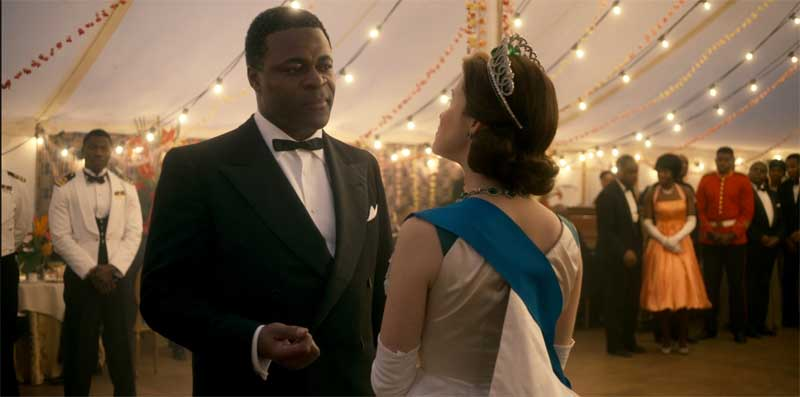 Danny Sapani and Claire Foy in The Crown
