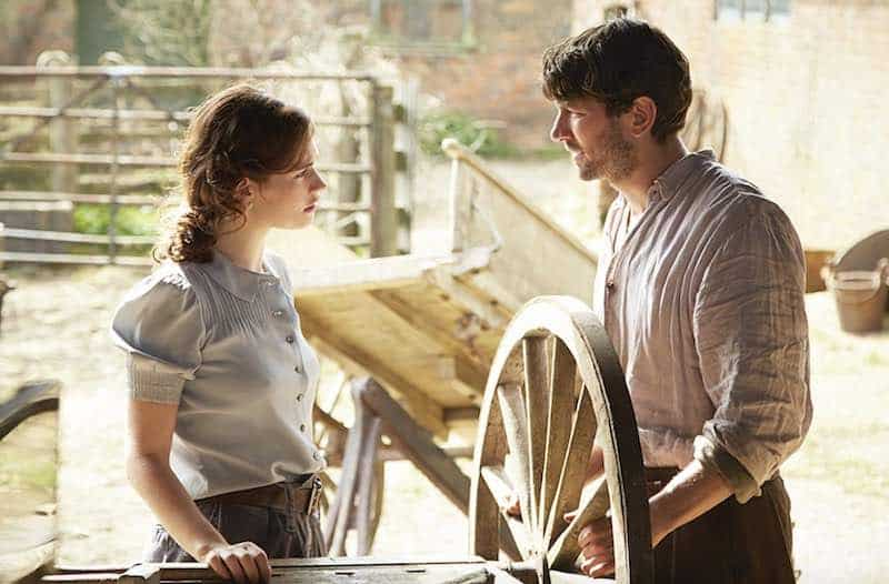 Michiel Huisman and Lily James in Guernsey