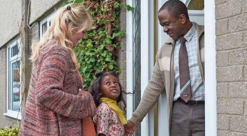 Sarah Lancashire, Felicia Mukasa, and Lucian Msamati in Kiri