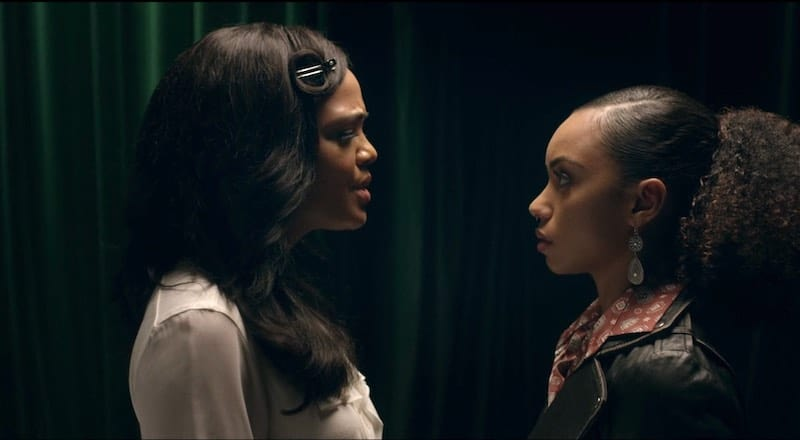 Tessa Thompson and Logan Browning in Dear White People