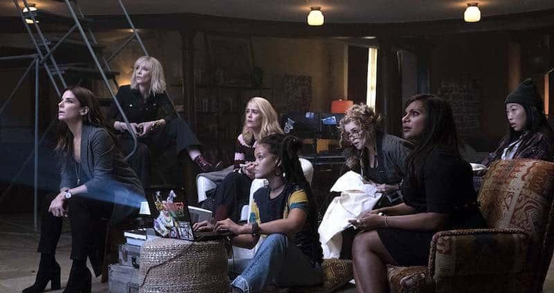 Sandra Bullock, Helena Bonham Carter, Cate Blanchett, Sarah Paulson, Mindy Kaling, Rihanna, and Awkwafina in Ocean's 8