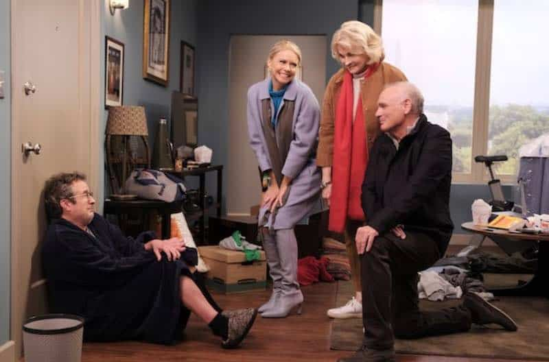 Candice Bergen, Faith Ford, Joe Regalbuto, and Grant Shaud in Murphy Brown