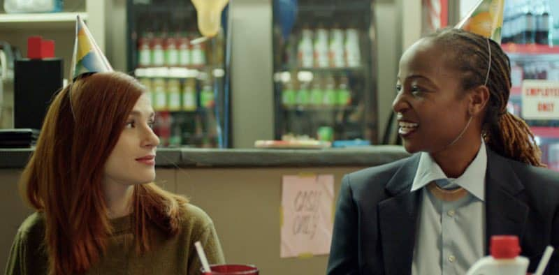 Aya Cash and Melanie Nicholls-King in Mary Goes Round