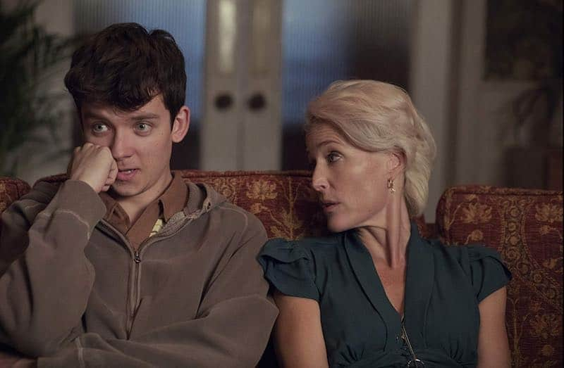 Asa Butterfield and Gillian Anderson in Sex Education