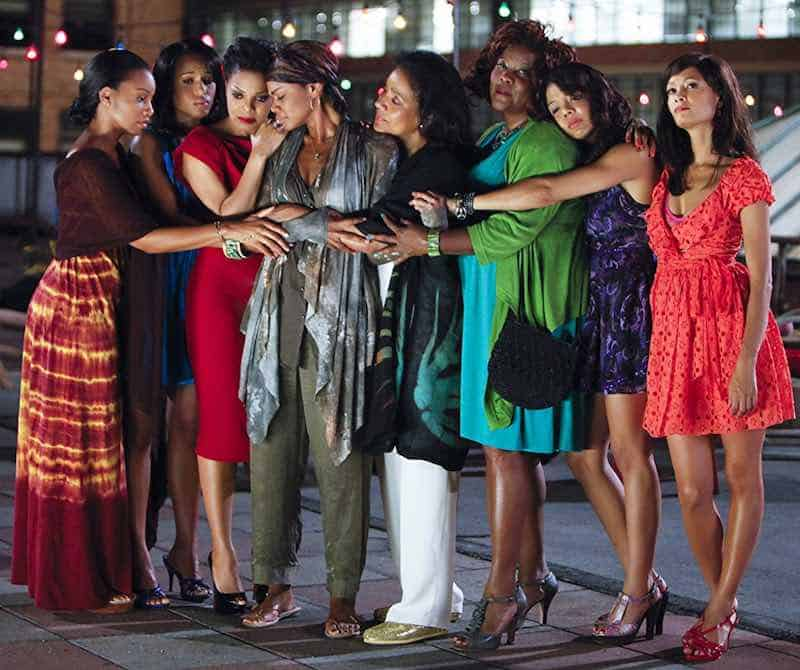 Janet Jackson, Loretta Devine, Kimberly Elise, Thandie Newton, Phylicia Rashad, Anika Noni Rose, Kerry Washington, and Tessa Thompson in For Colored Girls