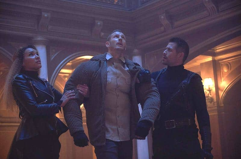 Emmy Raver-Lampman, Tom Hopper and David Castañeda in The Umbrella Academy