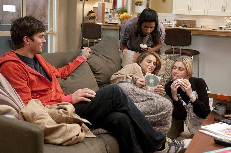 Natalie Portman, Ashton Kutcher, Mindy Kaling, and Greta Gerwig in No Strings Attached