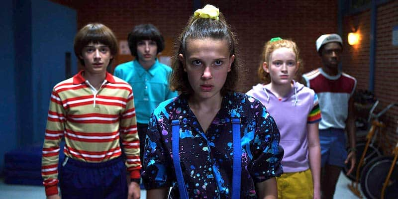 Caleb McLaughlin, Sadie Sink, Millie Bobby Brown, Finn Wolfhard, and Noah Schnapp in Stranger Things