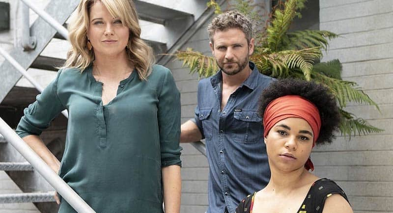 Lucy Lawless, Bernard Curry and Ebony Vagulans in My Life is Murder