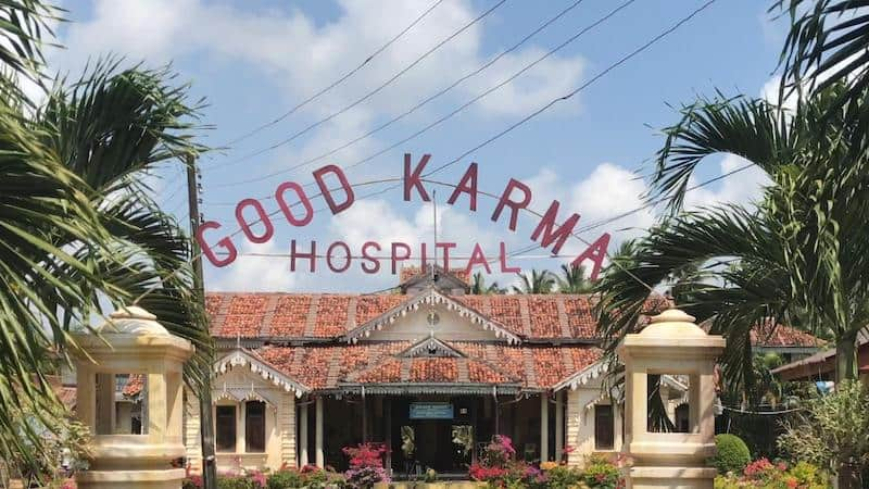 The hospital building in The Good Karma Hospital