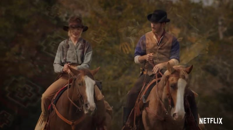 """Colin O'Donoghue and Willa Fitzgerald in Dolly Parton's Heartstrings """"J.J. Sneed"""""""