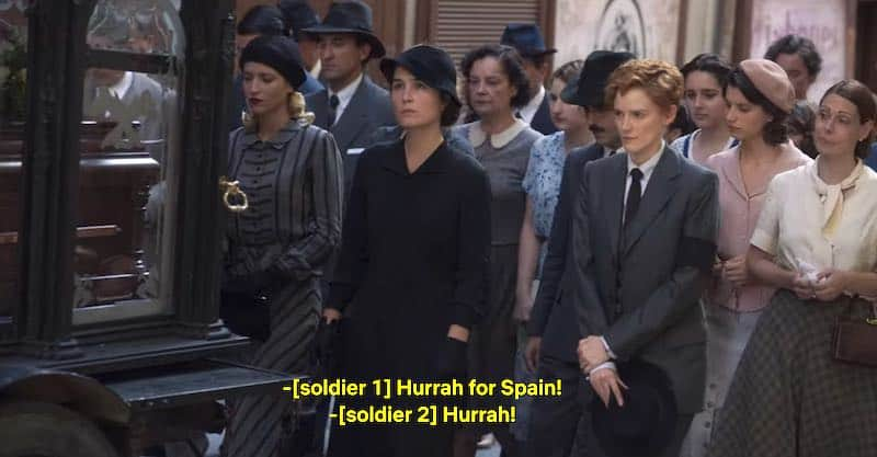 Ana Polvorosa, Nadia de Santiago, and Ana Fernández in Cable Girls (Las Chicas del Cable)