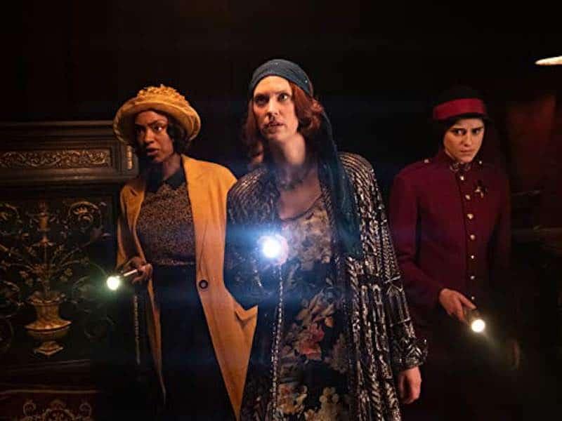 Lauren Lee Smith, Rebecca Liddiard, and Chantel Riley in Frankie Drake Mysteries