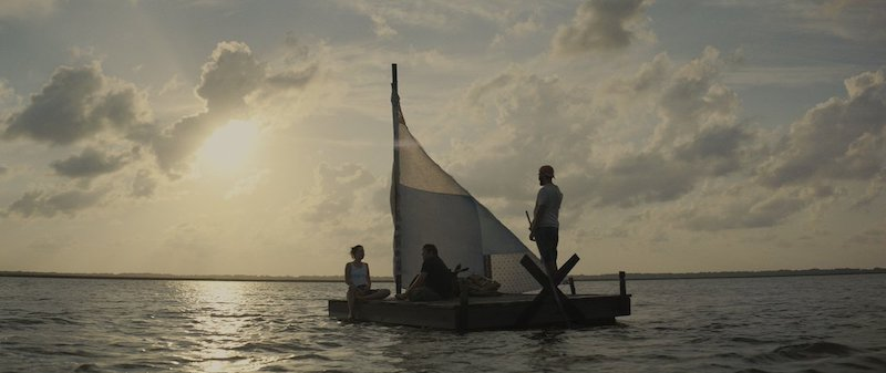 Dakota Johnson, Shia LaBeouf, and Zack Gottsagen in The Peanut Butter Falcon
