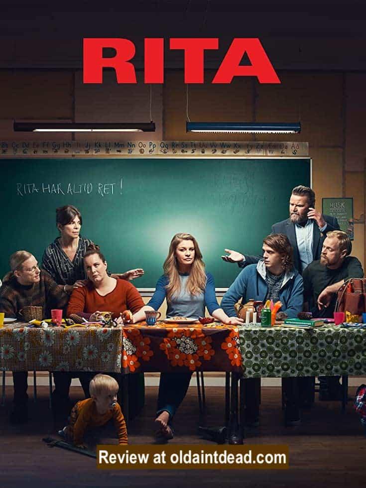 Rita poster showing Carsten Bjørnlund, Peter Gantzler, Ellen Hillingsø, Mille Dinesen, Nikolaj Groth, Lise Baastrup, and Kristoffer Fabricius