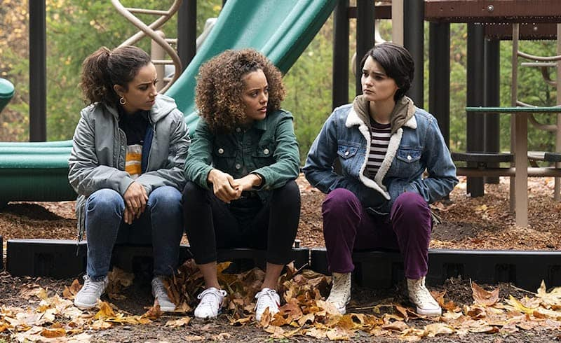 Brianna Hildebrand, Kiana Madeira, and Quintessa Swindell in Trinkets