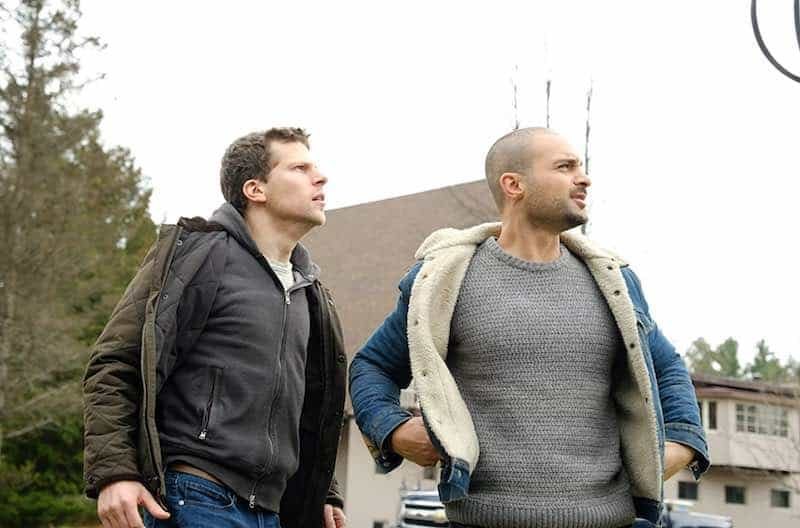 Jesse Eisenberg and Michael Mando in The Hummingbird Project