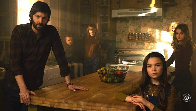 Jim Sturgess, Mila Morgan, Abby Miller, Brooklynn Prince and Kylie Rogers in Home Before Dark