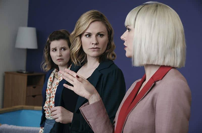 Anna Paquin, Lydia Wilson, and Rebecca Benson in Flack