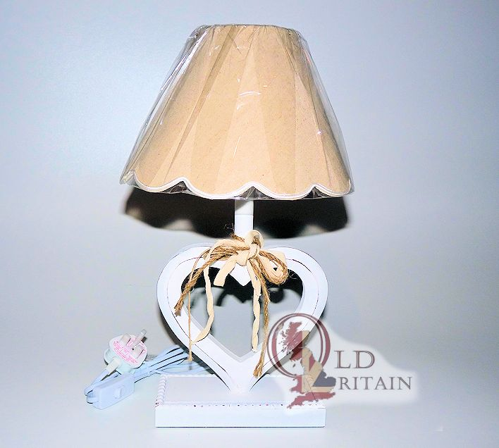 Shabby chic table lamp side light white heart wooden painted shabby chic table lamp aloadofball Image collections