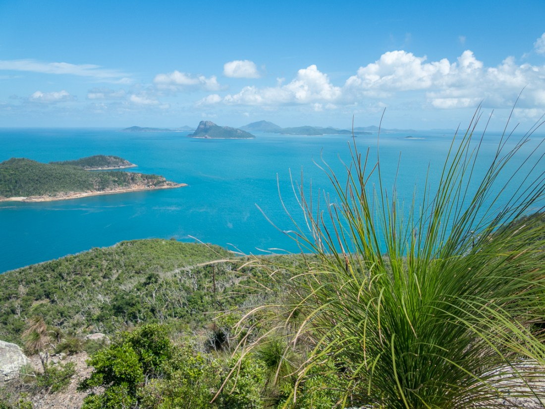 A landscape view of an island from a high vantage point