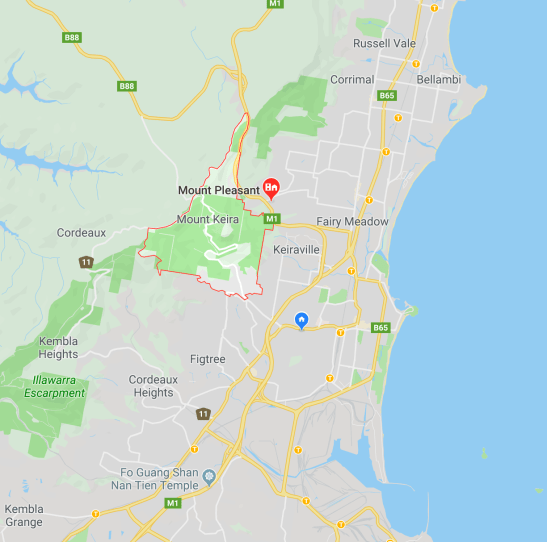 Map view from Google Maps - Mt Keira