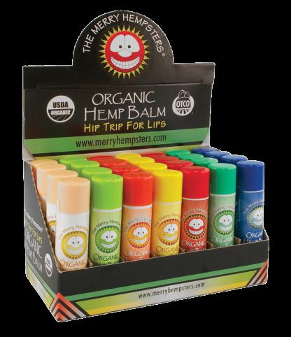 Merry Hempsters hemp lip balm display