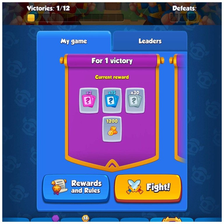 A screenshot of Rush Royale victory prizes