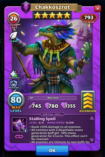 Screenshot of Chakkoszrot's Card with Special Skills from the mobile game, Empires and Puzzles