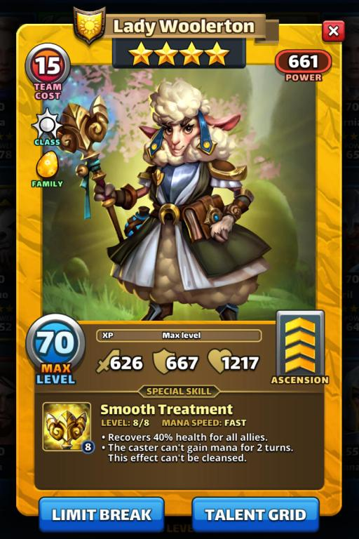 Screenshot of Lady Woolerton's Empires and Puzzles Hero Card