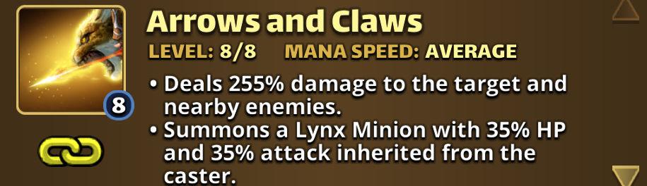 Screenshot of a hero card description - Empires & Puzzles