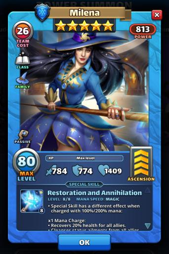 A screenshot of Milena from Empires and Puzzles