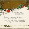 vintage christmas card, old fashioned holiday greeting, horse drawn sleigh image, vintage winter graphic