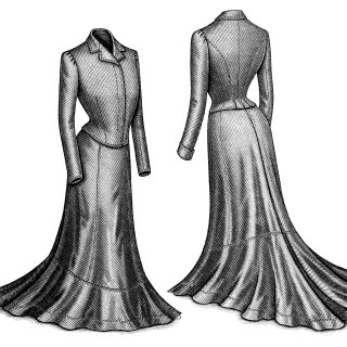 Victorian Ladies' Dress Front and Back