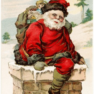 Santa in Chimney Vintage Postcard