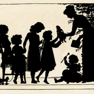 Silhouette of Children Receiving Gifts