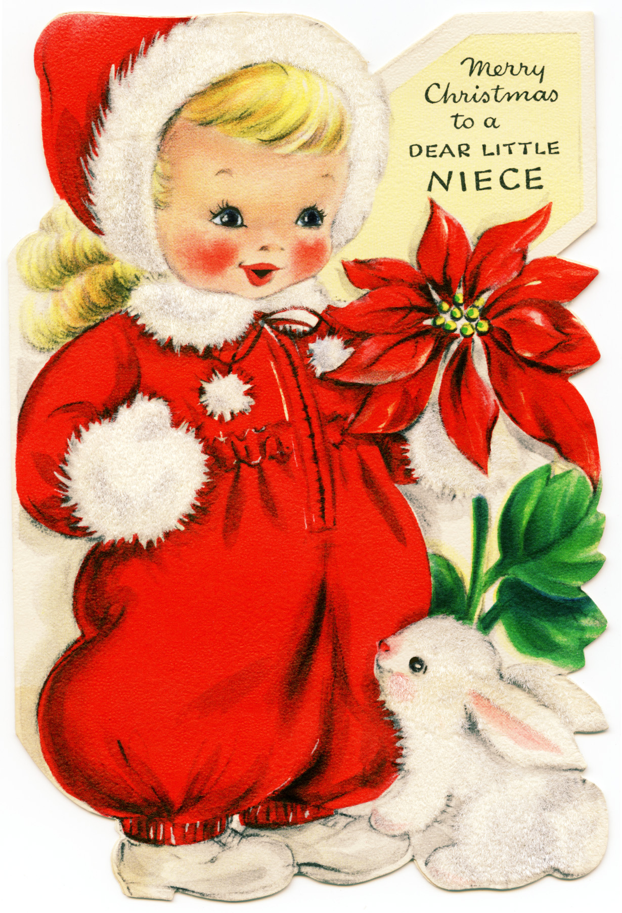 Girl In Red Retro Christmas Greeting Card Old Design