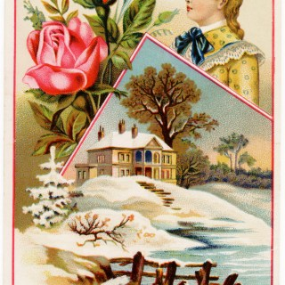 Victorian Girl Rose and Snowy Scene
