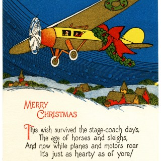 Vintage Airplane Merry Christmas Card