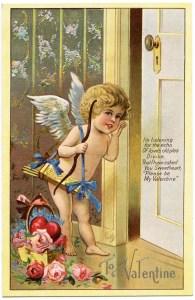 cupid listening postcard, vintage valentine postcard, free valentine clipart, cherub valentine card, old fashioned valentine printable