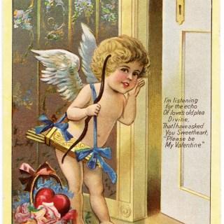 Cupid Listening Vintage Valentine