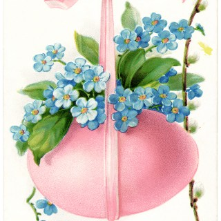 Pink Egg Blue Flowers Vintage Easter Card