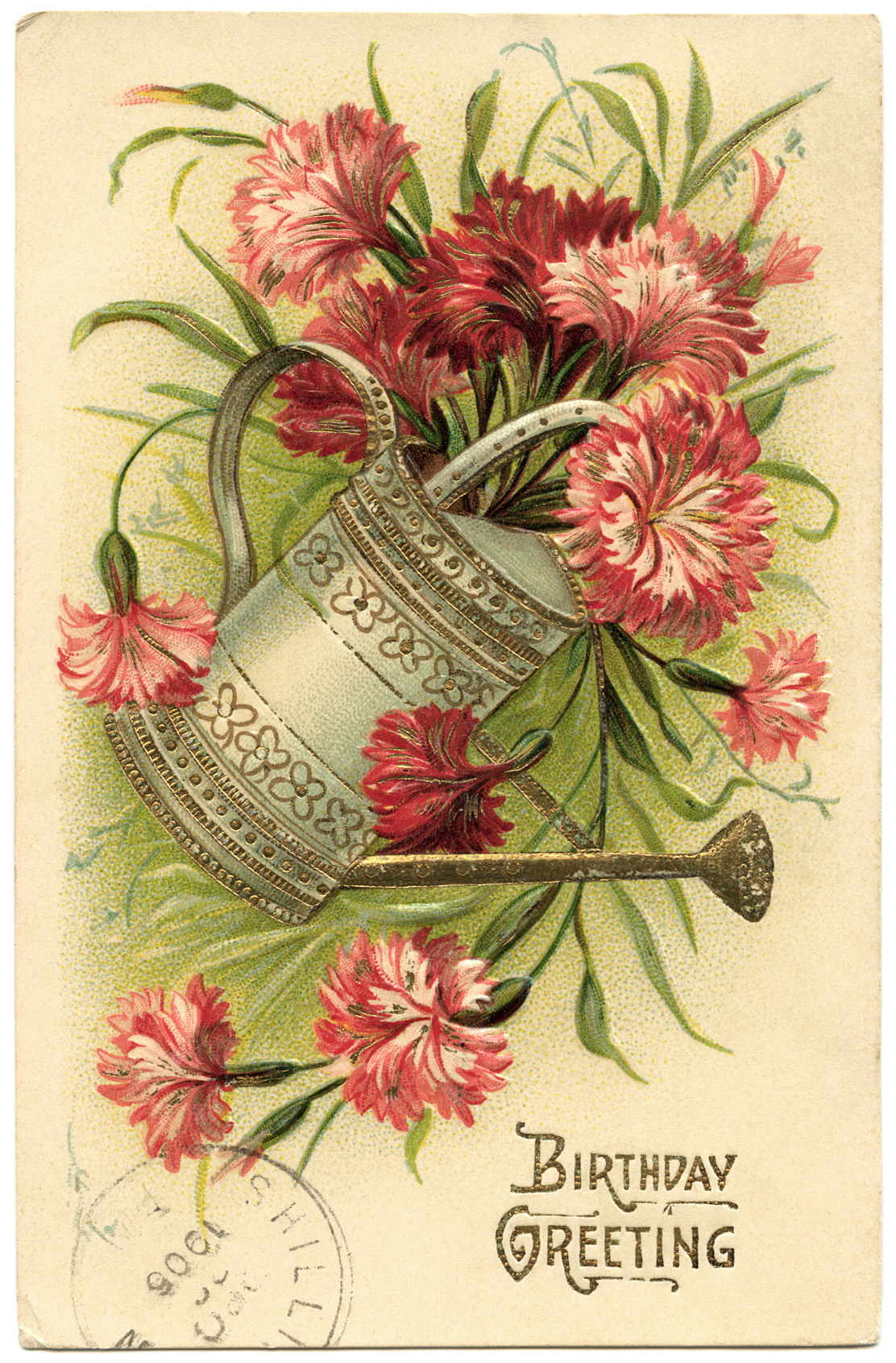 Pail of Flowers Vintage Birthday Card   Old Design Shop Blog Free vintage clip art watering can filled with flowers birthday postcard  image