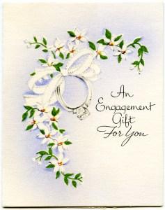 vintage engagement card, free printable, retro engagement gift card, old fashioned engagement wish, free public domain greeting card, old design shop