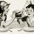 free vintage clipart children, girl and boy eating bread, homemade bread sliced, children having lunch