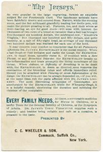 vintage trade card back, Dr Jayne's remedies, Dr Jayne's expectorant, Dr Jayne's liniment, Dr Jayne's vermifuge, victorian advertising card, free vintage image, the jerseys